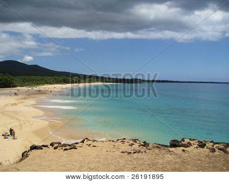 dark clouds rolling over white sand beach, Big Beach, Maui, Hawaii