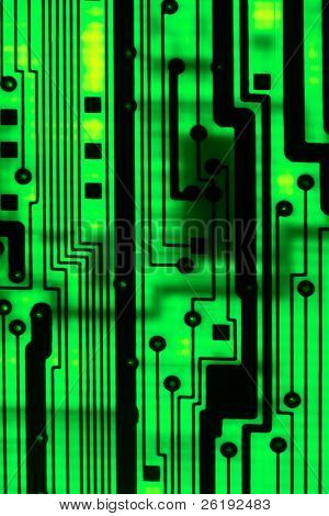 macro of a backlit circuit board