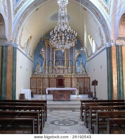 Interior of the Roman Catholic Cathedral of St John the Baptist, Fira, Crete.