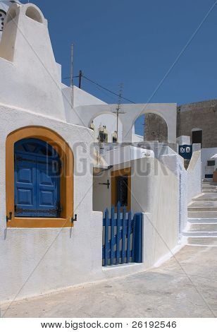 A street in the hilltop village of Pyrgos, Santorini, Greece, at the top of town.