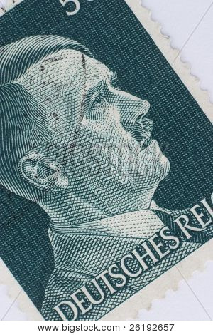 Adolf Hitler's image on a Third Reich postage stamp