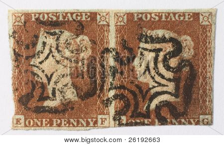 Early British postage stamps - a pair of Victorian Penny Reds from some time between 1841 and 1844