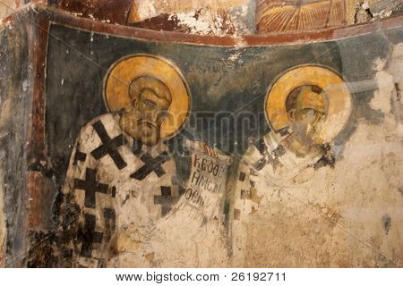Ancient frescoes decaying in St George's church, Agia Triada archaeological site, Crete