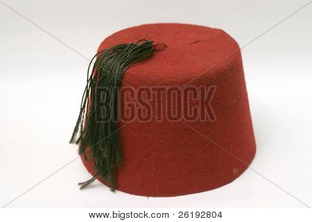 An Egyptian Fez, the traditional hat worn in Egypt and Turkey.