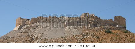 he ruins of the Crusader's Shawbak Castle in Jordan. This is one of a string of immense fortifications that the crusaders built in the Holy Land.