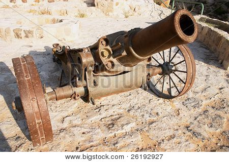 An Ottoman era howitzer, wide-angle view.