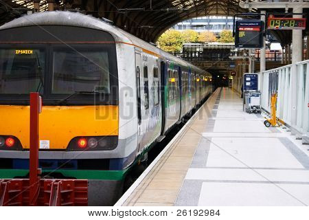A train at a platform, Liverpool Street Station, London