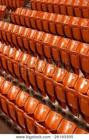 Rain-soaked seats at the Khalifa Tennis Stadium,  Qatar, during an interruption in an ATP match.