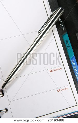 A personal organiser and pen.