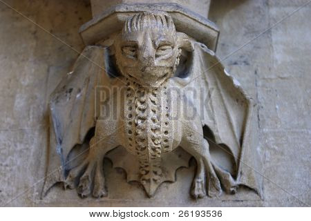 Gargoyle carved on one of the walls of Westminster Abbey