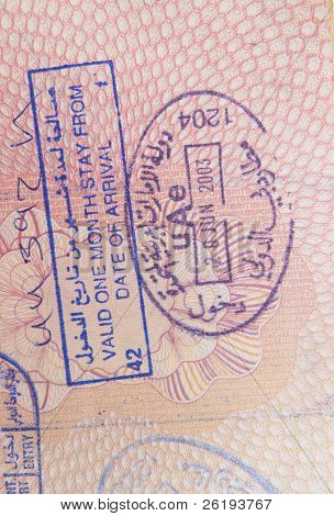 """On arrival visa"" and entry stamp for the United Arab Emirates"