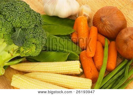 Vegetables for a stir-fry