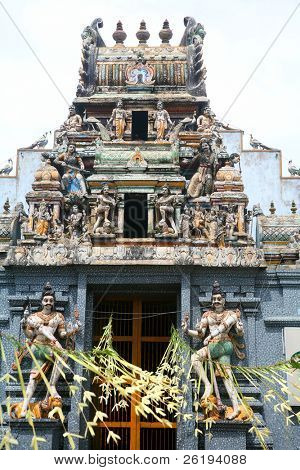 A traditional Hindu temple in Galle, Sri Lanka, decorated for a festival.