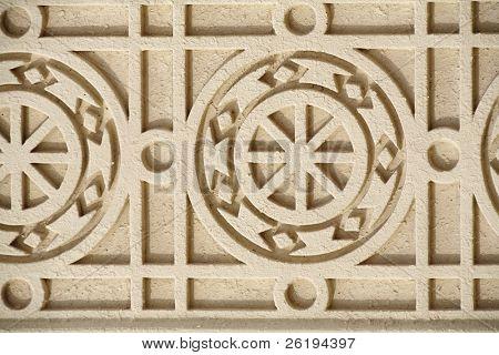 ein Beispiel für islamischen Design umgewandelt in Beton an einem Gebäude in Doha, Katar, grob lackiert weiß. ein