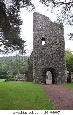 A view of the Cross Kirk at Peebles, Scotland, a Mediaeval monastery