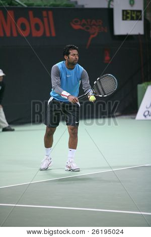 India's Leander Paes in action in the men's tennis doubles final, Doha, Qatar, January 2007.
