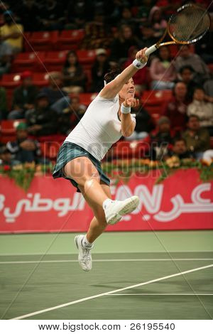 Russian tennis star Svetlana Kuznetsova in action against Daniela Hantuchova in the Qatar Total Open, in Doha, March 2007.