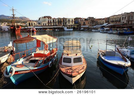 Early evening at the Venetian harbour, Rethymnon, Crete.
