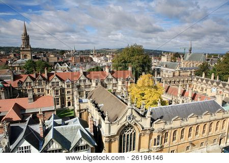 View of Oxford, across the top of Brasenose and Exeter colleges.