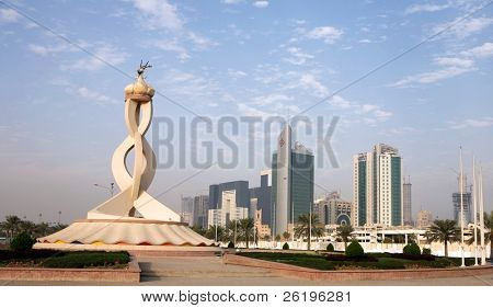 The Oryx monument on the edge of the business tower New District of Doha, backed by new tower blocks. November 18, 2007