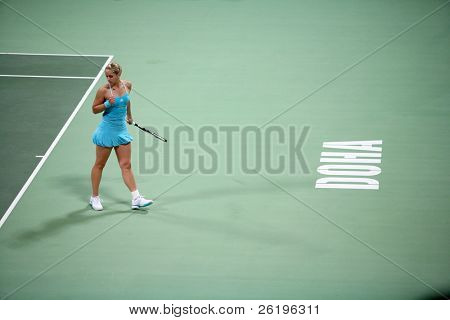 Rising German tennis star Sabine Lisicki celebrates winning a point during her losing first-round centre court match against former No1 Amelie Mauresmo in Doha, Qatar, February 18, 2008