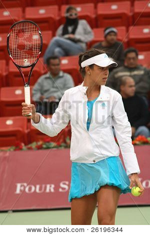 Top-seeded tennis star Ana Ivanovic at Qatar Open, Feb 20, 2008, before suffering an ankle injury which forced her to withdraw from the tournament the following day, having played just one match.