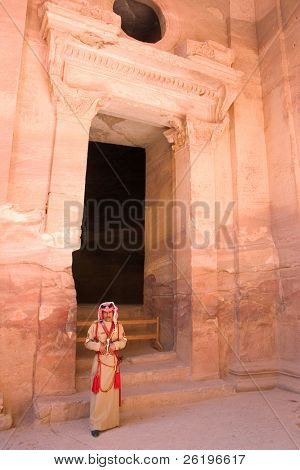 A policeman on guard at the Treasury in Petra, Jordan