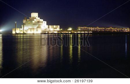 Qatar's Islamic heritage museum, on Doha Corniche, seen at night, February 2009