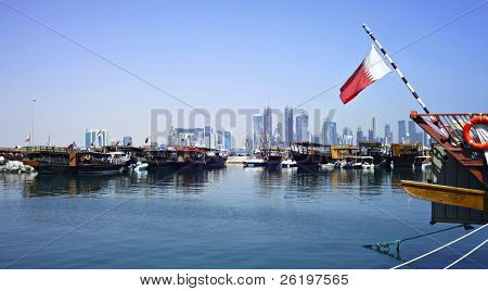 A view of the dhow harbour in Doha, Qatar, October 9, 2009, with the high rise area under development in the background