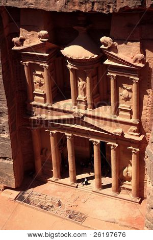 """A view from cliffs opposite of the Nabataean Al Khazneh """"Treasury"""" at Petra, Jordan, probably a royal tomb that forms part of the World Heritage Site."""