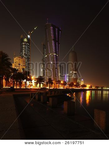 The towers on the Corniche in Doha, Qatar, at night, January 2010.