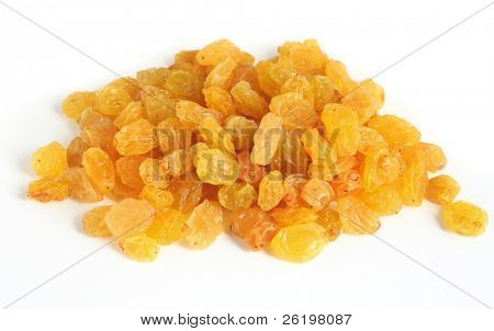 A heap of golden raisins for baking, over a white background with light shadows