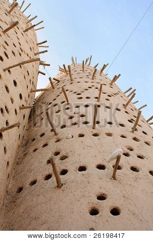 A traditional Arabian pigeon house, or dovecote, at the Katara traditional village in West Bay, Doha, Qatar, Arabia