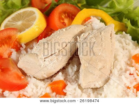 Boiled chicken and rice with salad vegetables, a meal suitable for a strict low-fat diet or for medical conditions such as diabetes or pancreatitis.