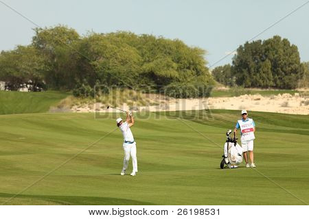 DOHA, QATAR - February 6: Swedish golfer Johan Edfors in action at the Commercial bank Qatar Masters, at the Doha Golf Club, February 6, 2011