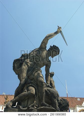 Sculpture representing allegory of good and evil fight