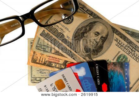 Credit Cards, Money And Glasses