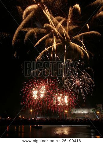 Fireworks show over Royal castle Wawel in Krakow
