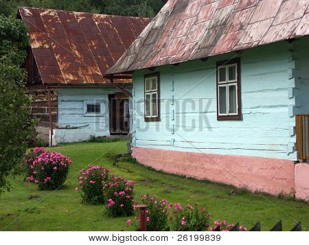 Farmstead with blue huts
