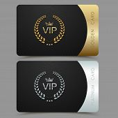 Vector Vip Golden And Platinum Card. Black Geometric Pattern Background With Crown Laurel Wreath. Lu poster