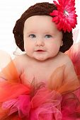 picture of baby face  - Adorable 5 month old baby girl wearing pink and brown tutu over white - JPG