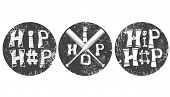 Set Of Graphic Elements In Rap Style In Round Grunge Frames. The Inscription Hip-hop With Bones. Cro poster