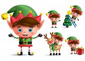 Boy Christmas Elf Vector Character Set. Little Kid Elves With Green Costume Holding Christmas Gifts  poster