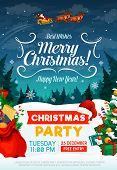 Christmas Party Poster Or Invitation Card. Happy New Year And Xmas Greeting Design With Santa In Sle poster