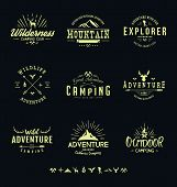 Outdoors Adventure Badges. Vintage Adventure Outdoor Logo poster