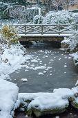 Frozen Stream And Little Bridge Under The Snow In Winter In The Trocadero Gardens In Paris, France poster