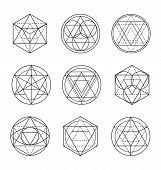 Sacred Geometry Line Art. Sacred Geometry Linear Vector poster