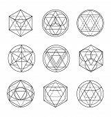 Sacred Geometry Line Art. Sacred Geometry Linear Vector poster