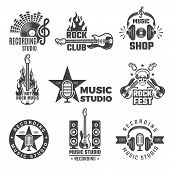 Black Music Labels. Vintage Vinyl Cover Record Microphone And Headphones Vector Symbols For Music Lo poster