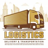 Logistics Background. Vector Stylized Illustration Of Truck And Different Symbols Of Transportation  poster